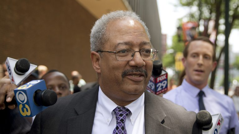 Rep. Chaka Fattah, D-Pa., walks after leaving the federal courthouse in Philadelphia, Tuesday, June 21, 2016. Fattah, a veteran Pennsylvania congressman, was convicted Tuesday in a racketeering case that largely centered on various efforts to repay an illegal $1 million campaign loan related to his unsuccessful 2007 mayoral bid. (Matt Rourke/AP Photo)