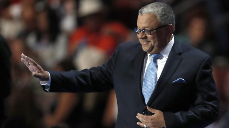 Former Philadelphia Police Commissioner Charles Ramsey takes the stage during the third day of the Democratic National Convention in Philadelphia