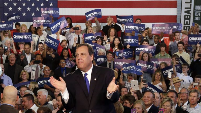 New Jersey Gov. Chris Christie takes the podium to speak to supporters during an event announcing he will seek the Republican nomination for president