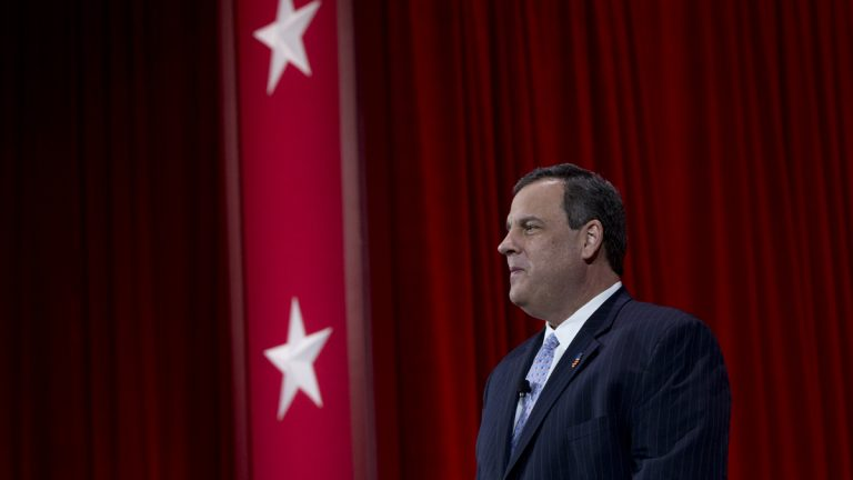 New Jersey Gov. Chris Christie arrives to speak during the Conservative Political Action Conference in National Harbor, Maryland, Thursday. (Carolyn Kaster/AP Photo)
