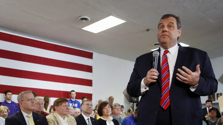 New Jersey Gov. Chris Christie, R-N.J. takes a questions during a town hall meeting with area residents in Londonderry, N.H., Wednesday, April 15, 2015. (Jim Cole/AP Photo)