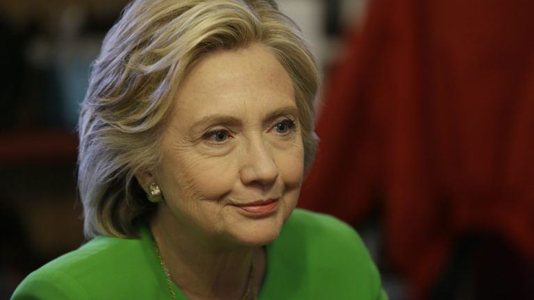 Democratic presidential candidate Hillary Rodham Clinton meets with local residents at the Jones St. Java House, Tuesday, April 14, 2015, in LeClaire, Iowa. (Charlie Neibergall/AP Photo)