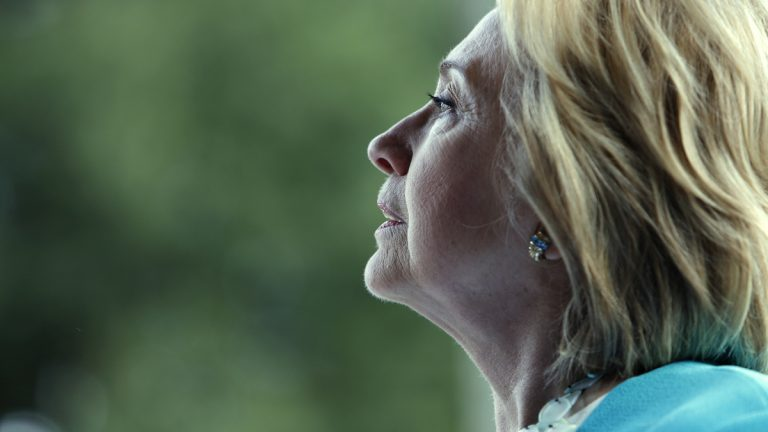 Democratic presidential candidate Hillary Rodham Clinton answers questions during a press conference after speaking to the crowd at the Jenkins Orphanage in North Charleston