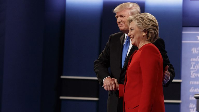 Republican presidential candidate Donald Trump shakes hands with Democratic presidential candidate Hillary Clinton during the first presidential debate at Hofstra University, Monday, Sept. 26, 2016, in Hempstead, N.Y. (Evan Vucci/AP Photo)