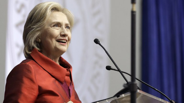 Democratic presidential candidate Hillary Rodham Clinton delivers a speech at Texas Southern University in Houston, Thursday, June 4, 2015. Clinton is calling for an expansion of early voting and pushing back against Republican-led efforts to restrict voting access, laying down a marker on voting rights at the start of her presidential campaign. (Pat Sullivan/AP Photo)