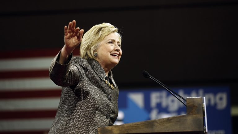 Democratic presidential candidate Hillary Clinton speaks at her presidential primary election night rally