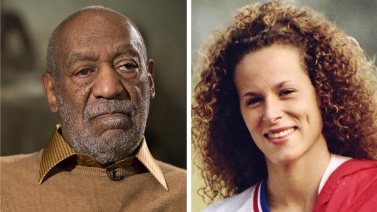 In this combination of file photos, entertainer Bill Cosby pauses during an interview in Washington on Nov. 6, 2014, and Andrea Constand poses for a photo in Toronto on Aug. 1, 1987. (AP Photo/Evan Vucci and Ron Bull/Toronto Star/The Canadian Press via AP)