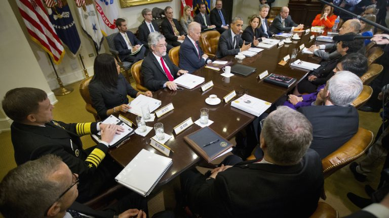 President Barack Obama meets with members of this national security team and cybersecurity advisers in the Roosevelt Room of the White House in Washington Tuesday. (Pablo Martinez Monsivais/AP Photo)