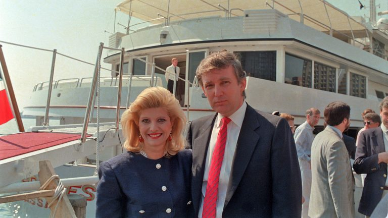 Real estate developer Donald Trump and his wife, Ivana, pose aboard their new luxury yacht The Trump Princess docked at the 30th Street pier on the East River in New York City, Monday, July 4, 1988. (Marty Lederhandler/AP Photo)