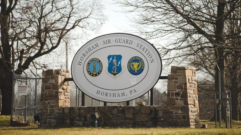 The front of the former Naval Air Station Joint Reserve Base Willow Grove and present day Horsham Air Guard Station is photographed