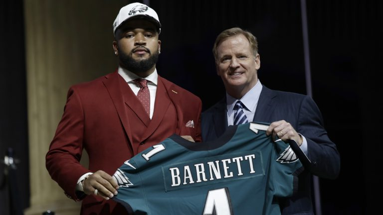 Tennessee's Derek Barnett, left, poses with NFL commissioner Roger Goodell after being selected by the Philadelphia Eagles during the first round of the 2017 NFL football draft, Thursday, April 27, 2017, in Philadelphia. (Matt Rourke/AP Photo)