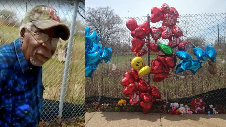 This Sunday, April 16, 2017 frame from video posted on Facebook shows Robert Godwin Sr. in Cleveland moments before being fatally shot (left) and  A makeshift memorial consisting of balloons, a stuffed bear and other items sits a along a fence in Cleveland on Monday, April 17, 2017. The memorial honors a man who was fatally shot in a video that was posted to Facebook. (Facebook via AP and Mike Householder/AP Photo)