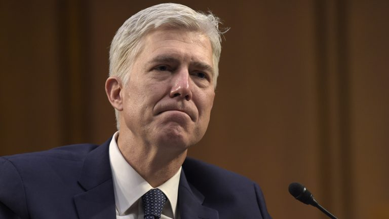 Supreme Court Justice nominee Neil Gorsuch listens as he is asked a question by Sen. Mazie Hirono, D-Hawaii, on Capitol Hill in Washington, Wednesday, March 22, 2017, during his confirmation hearing before the Senate Judiciary Committee. (Susan Walsh/AP Photo)