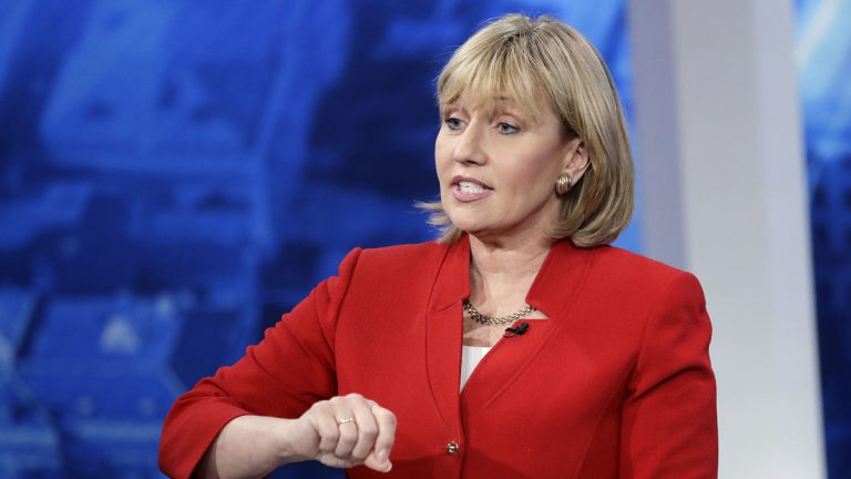 In this May 18, 2017 file photo, New Jersey Lt. Gov. Kim Guadagno speaks during a Republican gubernatorial primary debate in Newark, N.J. Guadagno has been at Gov. Chris Christie's side for the last eight years. Her Republican primary campaign to replace him has forced her to straddle a fine line between embracing the positive from her time in office and running away from the Christie legacy. (Julio Cortez/AP Pool, File)
