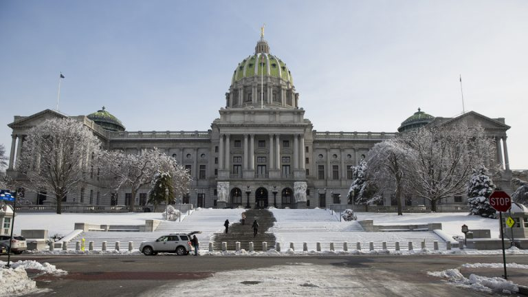 Shown is the Pennsylvania state capitol building ahead of Gov. Tom Corbett's scheduled budget address for the 2014-15 fiscal year to a joint session of the Pennsylvania House and Senate on Tuesday, Feb. 4, 2014, in Harrisburg, Pa. (Matt Rourke/AP Photo, file)