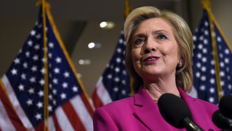 Democratic presidential candidate Hillary Rodham Clinton speaks to reporters on Capitol Hill in Washington, Tuesday, July 14, 2015. Clinton, who spoke about the deal reached with Iran, attended meetings on Capitol Hill with House and Senate Democrats. (Susan Walsh/AP Photo)