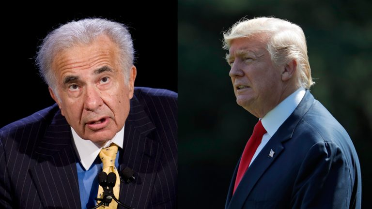 Billionaire investor Carl Icahn and President Donald Trump pictured in this composite photo (Mark Lennihan and Alex Brandon/AP Photos, file)