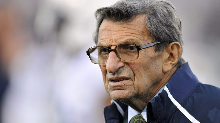 n this Oct. 22, 2011 file photo, Penn State coach Joe Paterno stands on the field before his team's NCAA college football game against Northwestern, in Evanston, Ill. (Jim Prisching/AP Photo, File)