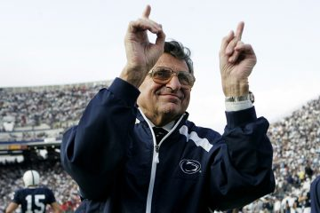 In this Nov. 5, 2005, file photo, Penn State football coach Joe Paterno acknowledges the crowd before an NCAA college football game against Wisconsin in State College, Pa. (Carolyn Kaster/AP Photo, file)