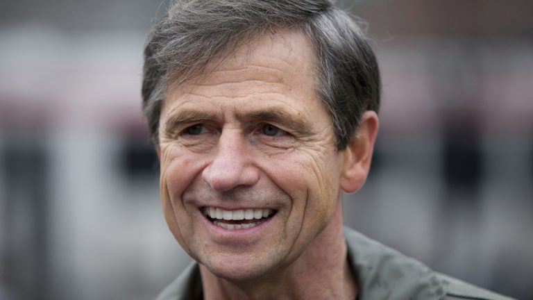 Former U.S. Rep. Joe Sestak of Pennsylvania  smiles during a March news conference in Philadelphia. Senate Democrats are claiming early recruiting successes in Republican-held states as they fight to retake the majority after last year's midterm bloodletting. (Matt Rourke/AP Photo, File)