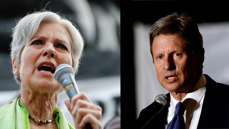 Dr. Jill Stein, presumptive Green Party presidential nominee (left) and Presidential candidate Governor Gary Johnson (Alex Brandon and Richard Shiro/AP Photos)