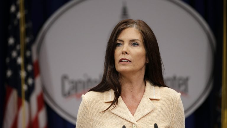 Pennsylvania Attorney General Kathleen Kane speaks during a news conference, Wednesday at the state Capitol in Harrisburg, Pa. (Matt Rourke/AP Photo)