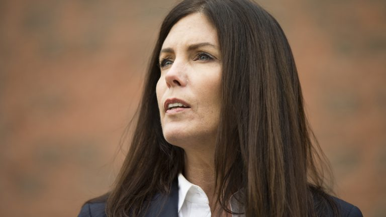 Attorney General Kathleen Kane speaks during a news conference Wednesday, Jan. 21, 2015, in Philadelphia. Court documents released Wednesday show a grand jury has concluded there are reasonable grounds to charge Kane with perjury, false swearing, official oppression and obstruction after an investigation into leaks of secret grand jury material. In an unrelated public appearance Wednesday in Philadelphia, Kane maintained her innocence. (Matt Rourke/AP Photo)
