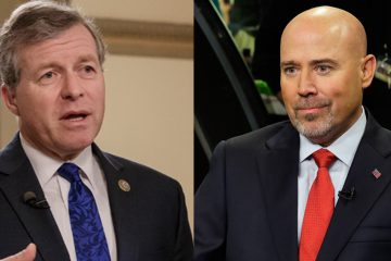 Republicans U.S. Reps. Charlie Dent of Pennsylvania  (left) and Tom MacArthur of New Jersey have been targeted by attack ads over their positions on the GOP health care legislation. (J. Scott Applewhite and Mel Evans/AP Photos)