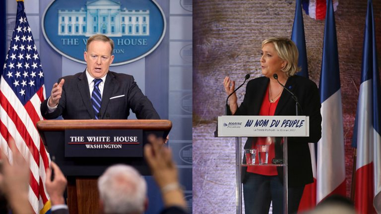 (From left) White House press secretary Sean Spicer talks to the media during the daily press briefing at the White House, Monday, April 10, 2017, in Washington. French Far-right leader presidential candidate Marine Le Pen gestures as she speaks during a rally in La Trinite-Porhoet, western France, Thursday March 30, 2017. (Andrew Harnik and  David Vincent/ AP Photos)