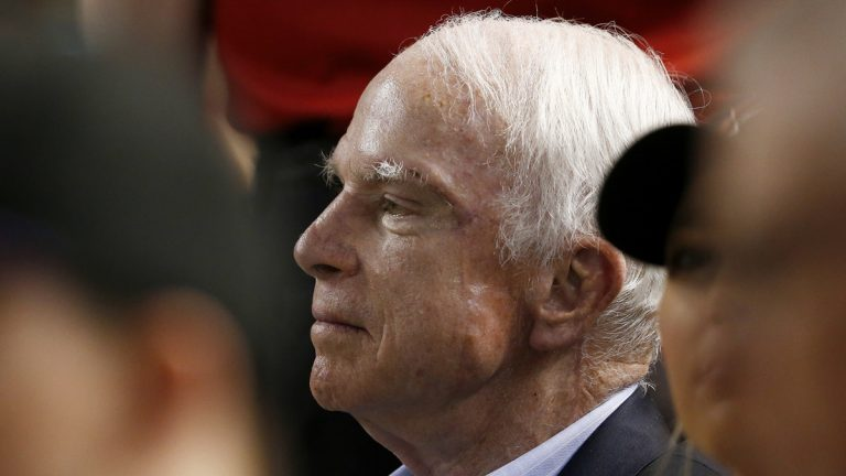 Sen. John McCain, R-Ariz., watches a baseball game between the Arizona Diamondbacks and the Los Angeles Dodgers during the first inning, Thursday, Aug 10, 2017, in Phoenix. (Ross D. Franklin/AP Photo)