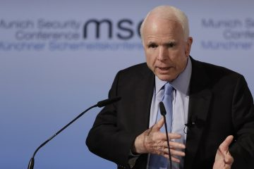 Senator John McCain, R-Ariz., speaks during the Munich Security Conference in Munich, southern Germany, Friday, Feb. 17, 2017. The annual weekend gathering is known for providing an open and informal platform to meet in close quarters. (Matthias Schrader/AP Photo)