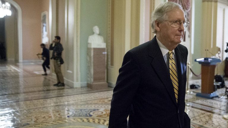 Senate Majority Leader Mitch McConnell of Ky. walks to the Senate Chamber on Capitol Hill in Washington, Tuesday, July 25, 2017. Republicans are showing signs of optimism that they'll be able to take up the health care bill. Senators and aides said talks were continuing that might win over enough Republicans to start debate. (Andrew Harnik/AP Photo)