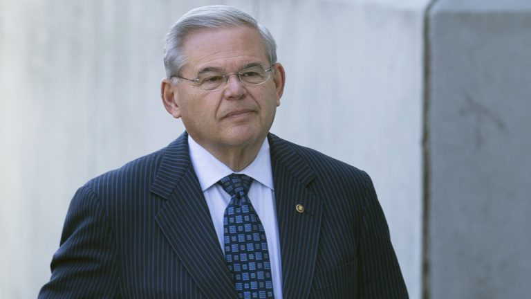 U.S. Sen. Bob Menendez arrives at Newark federal court, Thursday, April 2, 2015, in Newark, N.J.  (John Minchillo/AP File Photo)