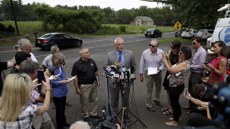 Matthew Weintraub, Bucks County district attorney,  speaks to the media Monday in Solebury, Pa. (Matt Slocum/AP Photo)