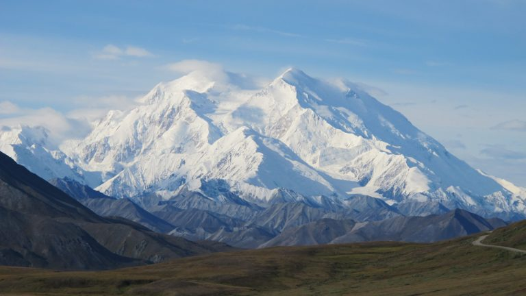 Mt. McKinley is seen on a rare sunny day, Friday, Aug. 19, 2011, in Denali National Park, Alaska. Mt. McKinley is the highest mountain peak in North America and the United States, with a summit elevation of 20,320 feet (6,194 m) above sea level. (Becky Bohrer/AP Photo)
