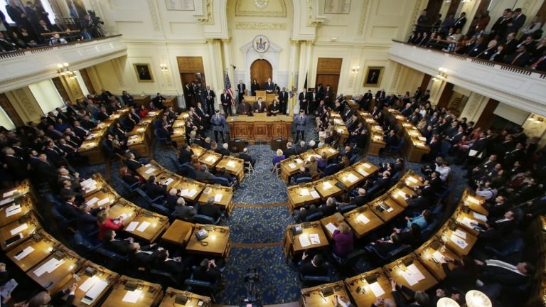 New Jersey Gov. Chris Christie, delivers his State Of The State to a large crowd in the Assembly Chambers of the Statehouse, Tuesday, Jan. 8, 2013, in Trenton, N.J. (Mel Evans/AP Photo)