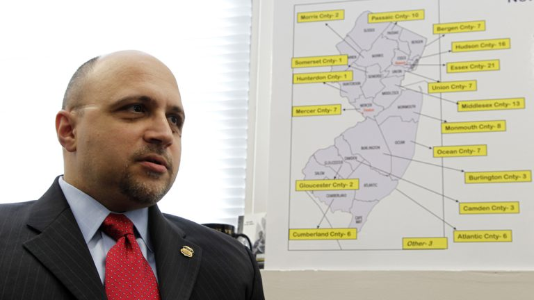 John Tsoukaris, director of the Newark field office for the U.S. Immigration and Customs Enforcement, talks about the arrests of 123 illegal immigrants in New Jersey during operation Cross Check III during an interview with The Associated Press, Monday, April 2, 2012, in Newark, N.J. The Obama administration said it arrested more than 3,100 immigrants who were illegally in the country and who were convicted of serious crimes or otherwise considered fugitives or threats to national security. It was part of a six-day nationwide sweep that the government described as the largest of its kind. (Julio Cortez/AP Photo)