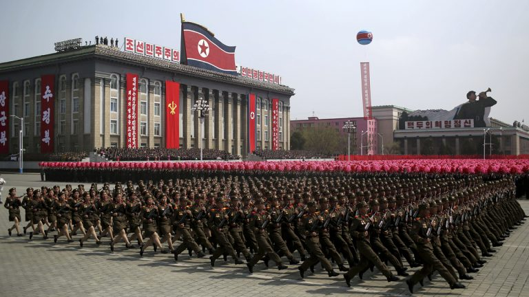 In this Saturday, April 15, 2017, file photo, a soldiers march across Kim Il Sung Square during a military parade in Pyongyang, North Korea to celebrate the 105th birth anniversary of Kim Il Sung, the country's late founder and grandfather of current ruler Kim Jong Un. While the heightened tension and rhetoric between Washington and Pyongyang may begin to cool down, there are many reasons why President Trump's problem isn't likely to go away. (Wong Maye-E/AP Photo, file)