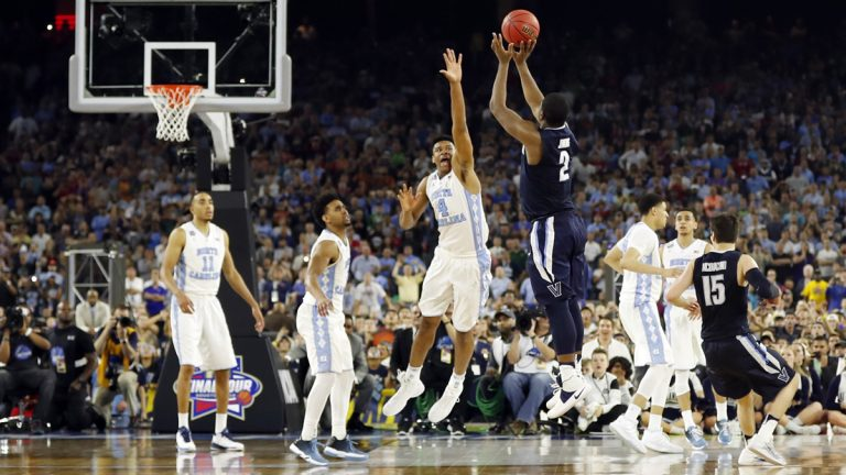Villanova's Kris Jenkins makes the game-winning three-point shot during the second half of the NCAA Final Four tournament college basketball championship game against North Carolina Monday, April 4, 2016, in Houston. (David J. Phillip/AP Photo)