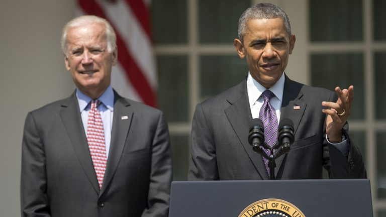 President Barack Obama, accompanied by Vice President Joe Biden, speaks in the Rose Garden of the White House in Washington, Wednesday, July 1, 2015. The president announced that US and Cuba have agreed to open embassies in each other's capitals, the biggest tangible step in the countries' historic bid to restore ties after more than a half-century of hostilities. (Pablo Martinez Monsivais/AP Photo)