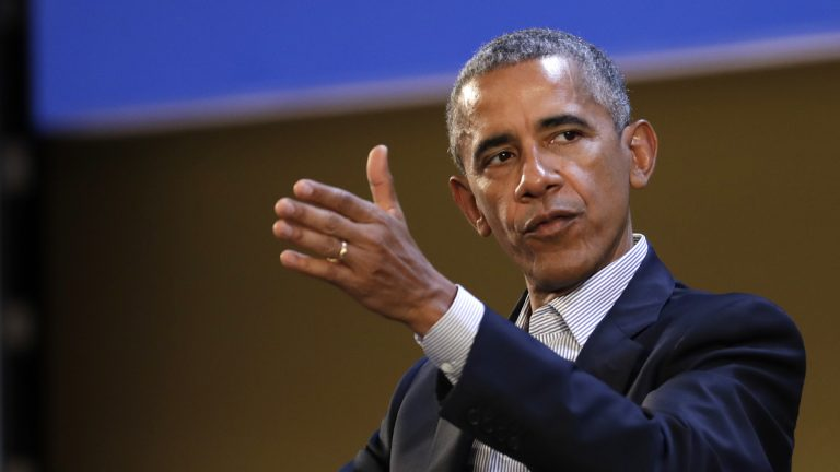 United States former President Barack Obama talks during the 'Seeds&Chips - Global Food Innovation' summit, in Milan, Tuesday, May 9, 2017.  Obama is in Milan to deliver a keynote speech on food security and the environment, two issues that he has long worked on. (Luca Bruno/AP Photo)