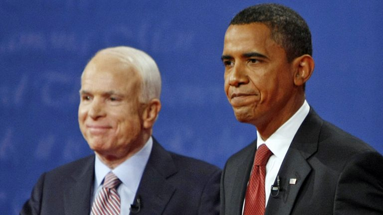 Republican presidential candidate, Sen. John McCain, R-Ariz., and then-presidential candidate, Sen. Barack Obama, D-Ill., on stage at the conclusion of a presidential debate at the University of Mississippi in Oxford, Miss. Friday, Sept. 26, 2008. (Gerald Herbert/AP Photo)
