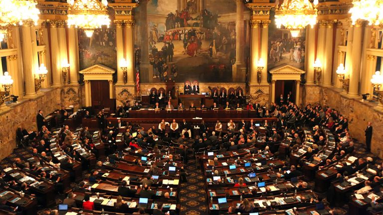 Gov. Tom Wolf delivers his budget address for the 2016-17 fiscal year to a joint session of the Pennsylvania House and Senate at the State Capitol in Harrisburg Pa.