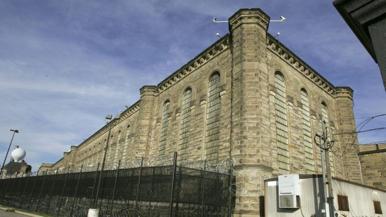 Fences and razor wire are seen around the yards behind the State Correctional Institution-Pittsburgh
