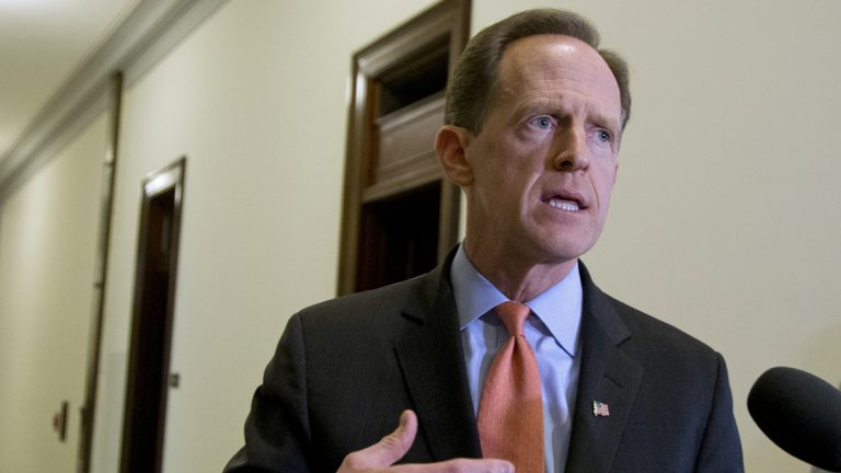 In this April 12, 2016 file photo, Sen. Patrick J. Toomey, R-Pa. speaks to reporters outside his office on Capitol Hill, in Washington. (Manuel Balce Ceneta/AP Photo, File)
