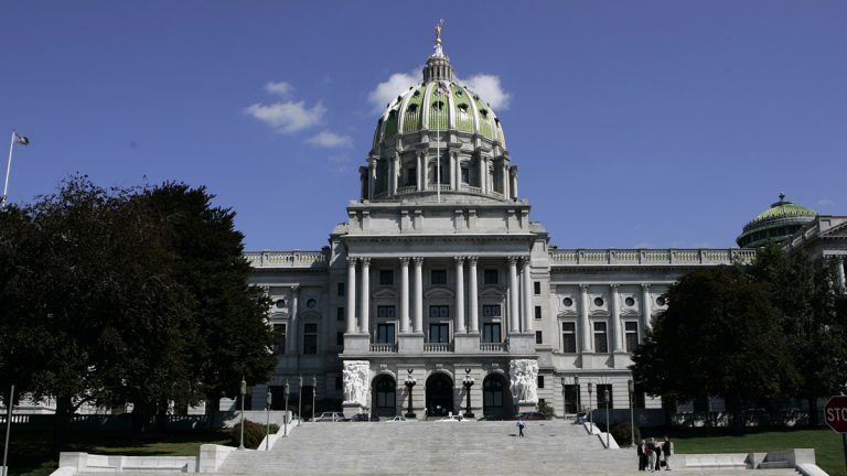 The west facade of the Pennsylvania State Capitol building is seen in Harrisburg. (AP Photo/Carolyn Kaster