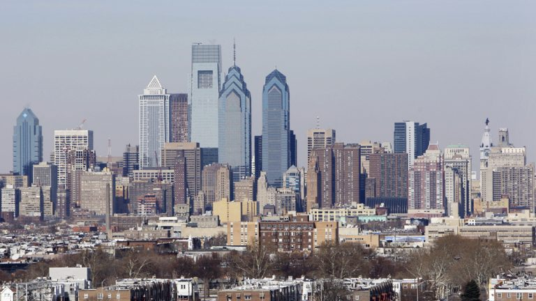 Shown is the skyline in Philadelphia