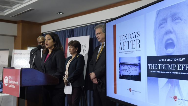 Brenda Abdelall, with Muslim Advocates, (second from left), speaks during a news conference at the National Press Club in Washington, Tuesday, Nov. 29, 2016. Abdelall, standing with (from left), Wade Henderson, President and CEO of The Leadership Conference on Civil and Human Rights, Janet Murguia, the President and CEO of the National Council of La Raza, and Richard Cohen, president of the Southern Poverty Law Center, called on President-elect Donald Trump to publicly denounce racism and bigotry. (Susan Walsh/AP Photo)