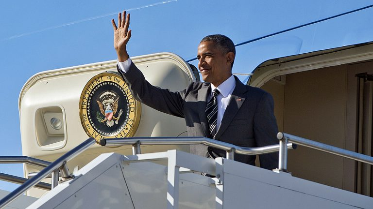 President Barack Obama waves during his arrival on Air Force One, Thursday, May 7, 2015, at Oregon Air National Guard Base in Portland, Oregon. (Pablo Martinez Monsivais/AP Photo)