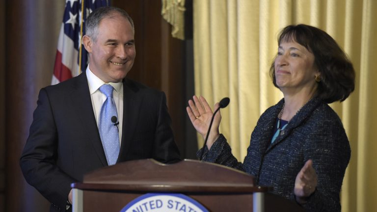 Environmental Protection Agency (EPA) Administrator Scott Pruitt smiles as his is introduced by former acting EPA Administrator Catherine McCabe, as Pruitt spoke to employees of the EPA in Washington, Tuesday, Feb. 21, 2017. (Susan Walsh/AP Photo)